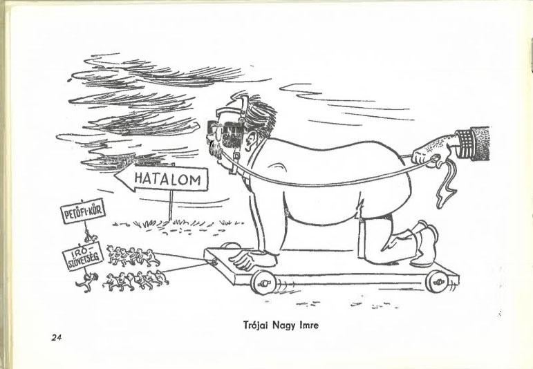 Pogány Sándor karikatúrája 1958-ban készült, de soha közzé nem tett Október 23. c. gyűjteményéből.