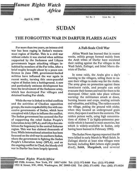 HRW Report on Darfur