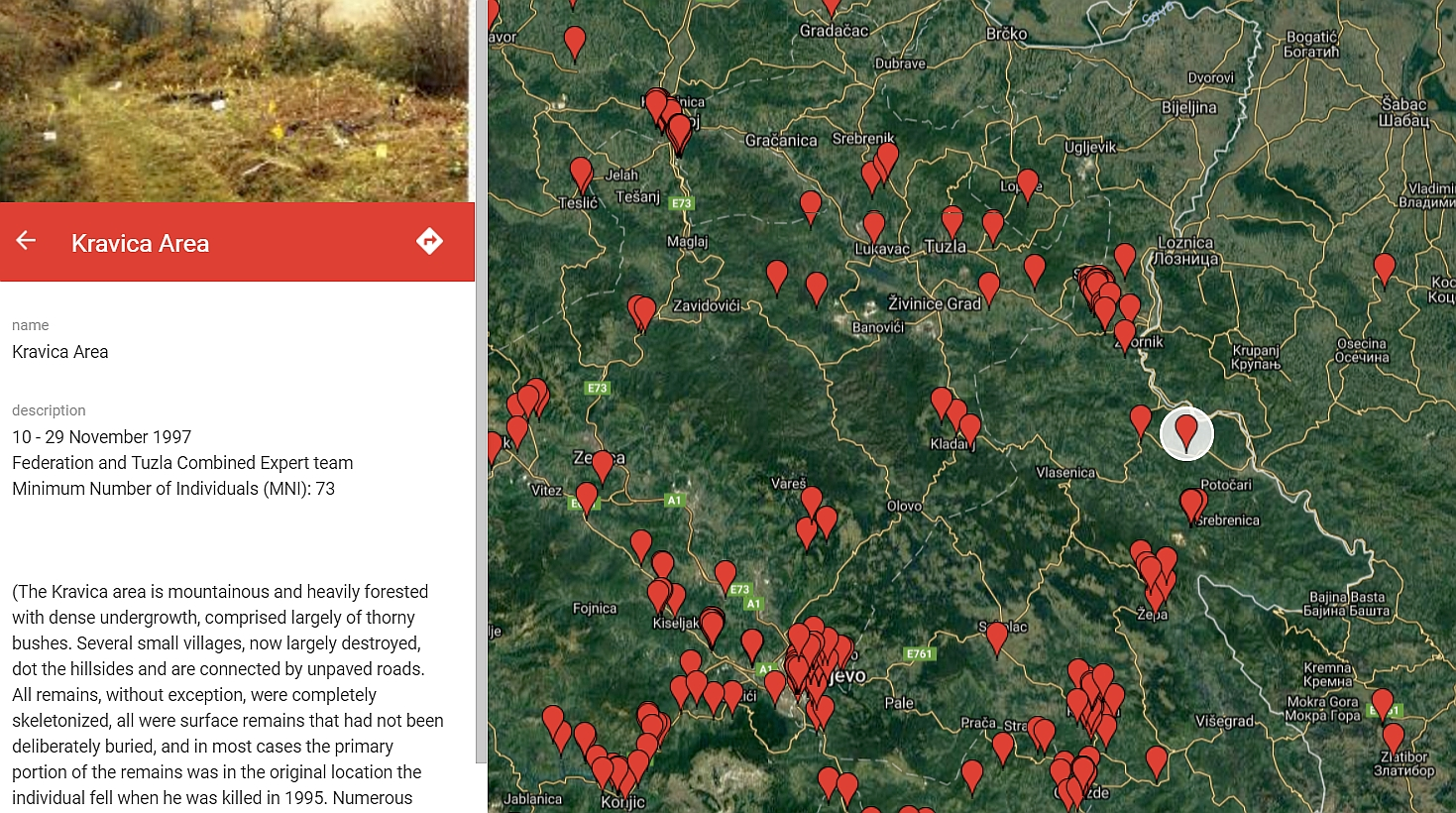 Map Of Mass Map of Mass Grave Exhumations in Bosnia and Herzegovina Published  Map Of Mass